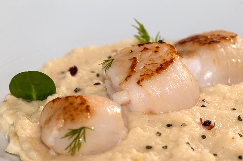 Noix de st jacques roties a la puree de celeri a la vanille - Cuisiner des noix de st jacques avec corail ...
